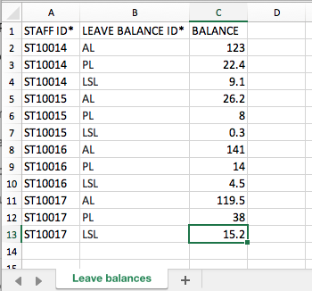Importing leave balances into your account | Ento